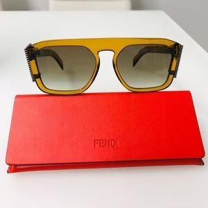 NWT FENDI FF0381 Gold Yellow Olive Sunglasses